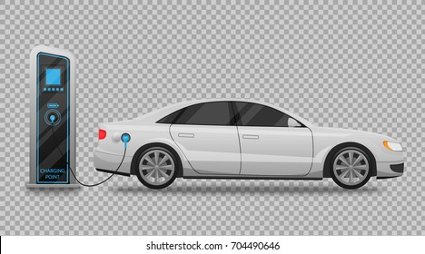 Electric car charging station and banner isolated on transparent background Vector Illustration. Electricity eco new technology cars of the future, a symbol for your projects.