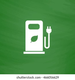 Electric car charging station or Bio fuel petrol. Flat Icon. Imitation draw with white chalk on green chalkboard. Flat Pictogram and School board background. Vector illustration symbol