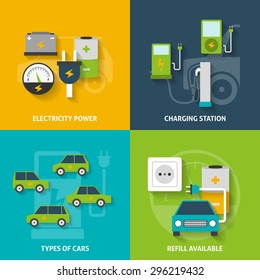 Electric car charging station and electricity power flat color decorative icon set isolated vector illustration