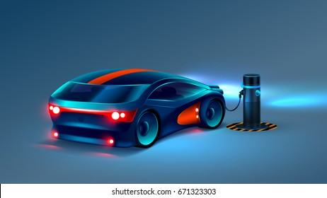 Electric car charging station. Electromobile.  Abstract electric vehicle future concept. VECTOR