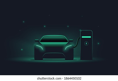 Electric car at charging station. Front view electric car silhouette with green glowing on dark background. EV concept. Vector illustration