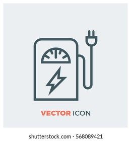 electric car charging station line vector icon