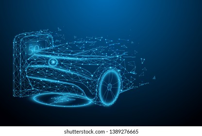 Electric car at charging station from lines, triangles and particle style design. Illustration vector