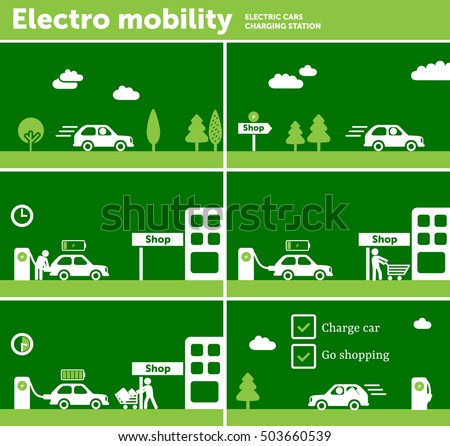 Electric Car Charging Station Near Shop Stock Vector Royalty Free