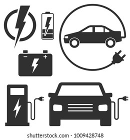 Electric car charging station sign. Set of vector illustrations. Eco fuel for automobile transport. Black signs isolated on white. Car with a plug, charging station, accumulator battery.