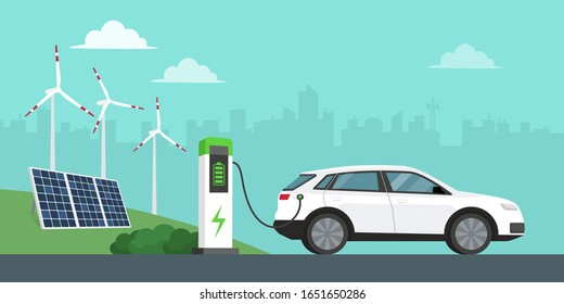 Electric car charging at the station, solar panels, wind turbines and city in the background, innovative technology and alternative energy concept