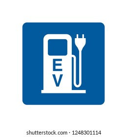 Electric car charging station symbol.