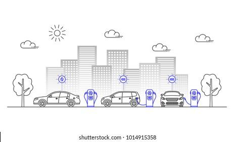 Elektrische Ladestation für Autos, Vektorgrafik. Städtische Ladegeräte für Elektroautos Linie Kunstkonzept.
