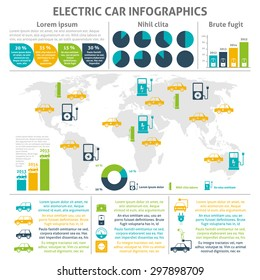 Electric car and charging station world distribution and expansion statistic flat color infographic set vector illustration