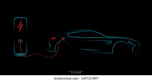Electric car with charging stations by sketch line rear view blue and red colors isolated on black background. Vector illustration.