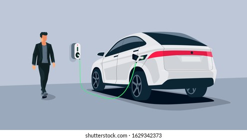 Electric car charging in underground garage home plugged charger station. Vector illustration battery EV vehicle standing parking connected to wallbox. Vehicle being charged with power supply socket.