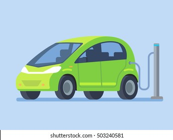 Electric car charging. Vector illustration