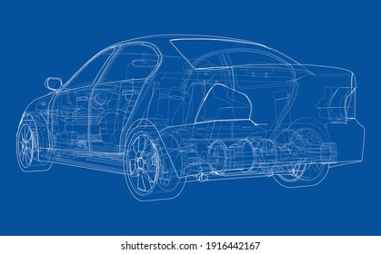 Electric Car With Chassis. Battery, suspension and wheel drive. Vector rendering of 3d. Wire-frame style