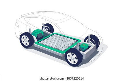 Electric car chassis with high energy battery cells pack modular platform. Skateboard module board. Vehicle components motor powertrain, controller with bodywork wheels. Isolated vector illustration.