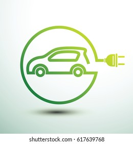 Electric car concept green drive symbol, vector illustration