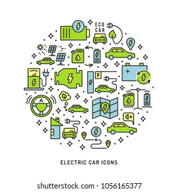 Electric car conceptual background, which include linear, outline editable stroke vector icons as of electrical vehicle, ecologic transport, green technology, autopilot, charging station