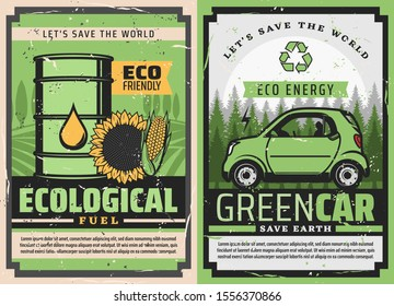 Electric car and eco green fuel posters of ecology clean energy and environment friendly vehicle vector design. Hybrid auto and barrel of bio fuel with green leaf, recycle symbol, sunflower and corn