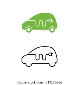 Electric car with electrical charging cable icon. Hybrid Vehicle symbol. Eco friendly auto or electric vehicle concept. Vector illustration.
