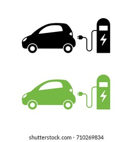 Electric car and electrical charging station icon. Hybrid Vehicle symbol. Eco friendly auto or electric vehicle concept. Vector illustration.
