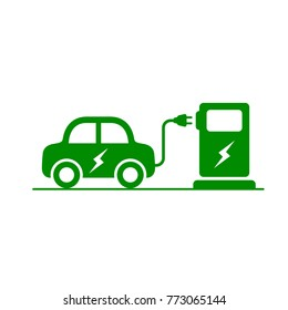 Electric Car and Electrical Charging Station icon green symbol, Vector illustration.