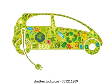 electric car formed with green icons