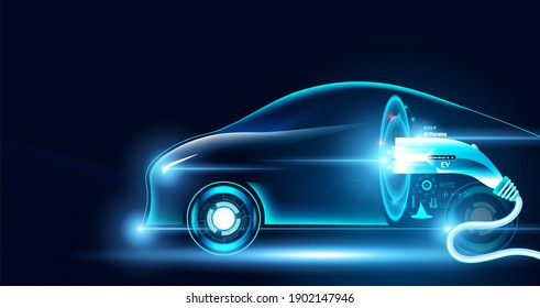 Electric car Future Power In the illustration with electric cars And charger. - Shutterstock ID 1902147946