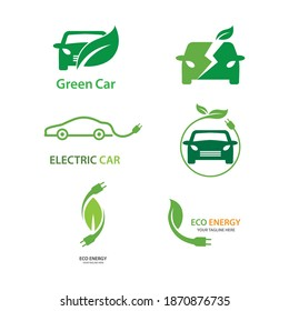 Electric car green car hybrid technology logo design