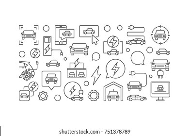 Electric car horizontal line banner. Vector illustration made with outline car, EV, charging stations icons