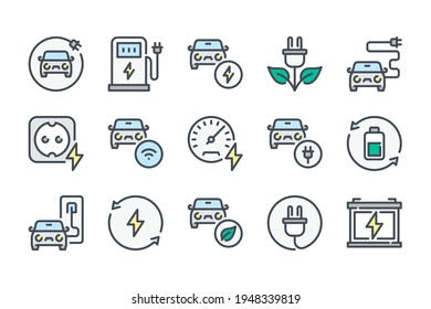 Electric car and Hybrid vehicle color line icon set. Eco fuel station and Auto charging linear icons. Battery power and Alternative energy sources colorful outline vector sign collection.