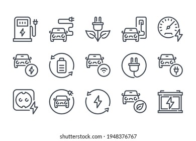 Electric car and Hybrid vehicle line icon set. Eco fuel station and Auto charging linear icons. Battery power and Alternative energy sources outline vector sign collection.