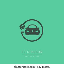Electric car icon with charging cable vector illustration