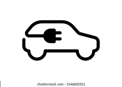 Electric car icon. Electrical automobile cable contour and plug charging black symbol. Eco friendly electro auto vehicle concept. Vector electricity illustration