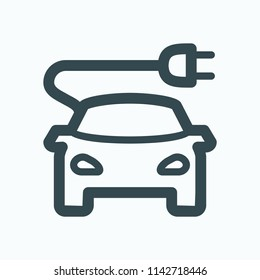 Electric car icon. Electrical car vehicle with charging cable plug vector icon