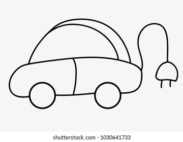 electric car icon on grey background