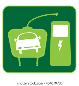 electric car icon with plug and station