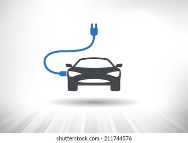 Electric Car Icon. Power cord connected to car. Front view. Fully scalable vector illustration.