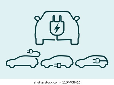 Electric car icon set. Electrical cable plug charging vehicle symbol. Vector illustration.