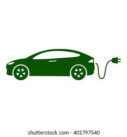 Electric car icon Vector Illustration. Side view of electric car, cable and plug