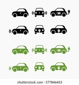 Electric car icon. vector illustration. E-car sign. Electro car set.