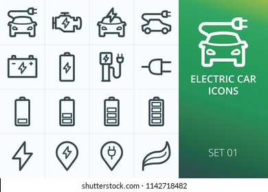Electric car icons set. Set of electric car, charging cable plug, charging station for e-car, battery levels vector icons