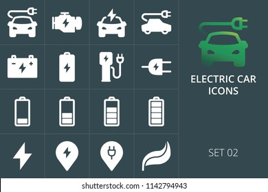 Electric car icons set of solid vector icons. Set of charge plug, accumulator, eco green technology, electric engine icons