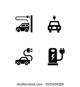 Electric car icons vector set on white. Set icons EPS 10 vector format black and white optimized for both large and small resolutions. Transparent background.