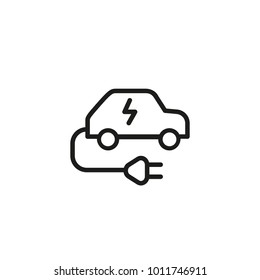 Electric Car Line Icon