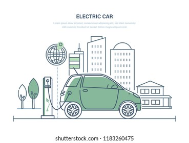 Electric car, machine, charging at gas station. Modern urban landscape with high-rise buildings skyscrapers, landscape, trees. Ecologically clean transport, eco-city. Illustration thin line design.