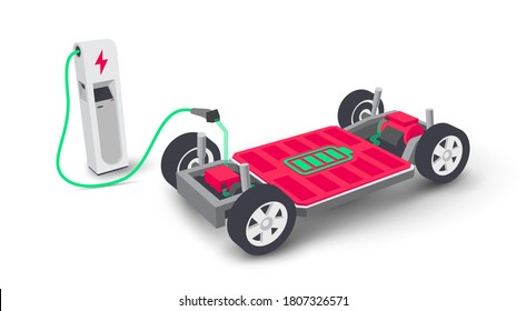 Electric car modular platform board scheme charging battery at charger station. Module pack inside electrified skateboard chassis components, motor powertrain, controller. Isolated vector illustration