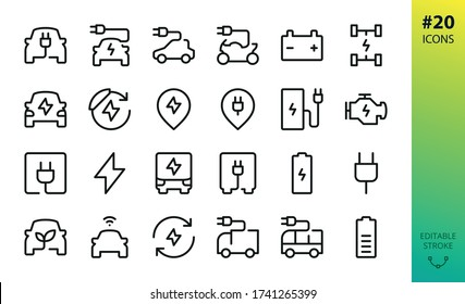 Electric car outline vector icon. Set of e car, electric bus, truck, vehicle, auto, charge station parking, engine, plug, battery, eco transport, autopilot, smart car isolated editable stroke icon