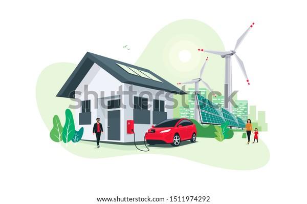 Elektroautoparkplatz mit Ladestation an der Hauswand mit einem Mann. Erneuerbare Energiespeicher mit Windturbinen und Solarpaneelen, intelligente City-Skyline im Hintergrund.Vektorgrafik.