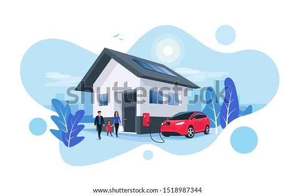 Elektroautoparkplatz, der an der hauseigenen Ladestation für die Hausmauer mit der Familie abgestellt wird. Erneuerbare Energiespeicherung mit Solarpaneelen und smarte Skyline der Stadt im Hintergrund.Vektorgrafik.