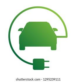 electric car with plug , EV car green logo vector