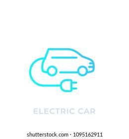 electric car with plug, EV, linear icon